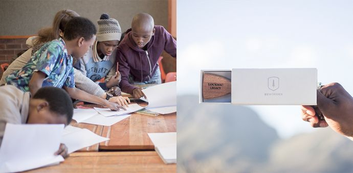 Kolaż ze zdjęć z kampanii charytatywnej Made by Africa z drewnianymi dodatkami z drewna mahoniowego