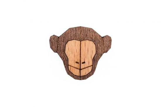 BeWooden - Monkey Brooch